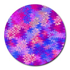 Pink And Purple Marble Waves Round Mousepads