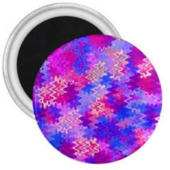 Pink and Purple Marble Waves 3  Magnets