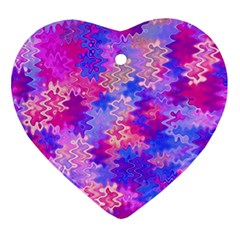 Pink and Purple Marble Waves Ornament (Heart)