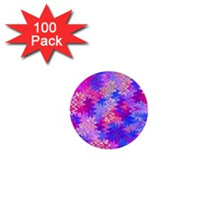 Pink And Purple Marble Waves 1  Mini Buttons (100 Pack)