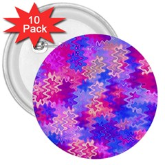 Pink and Purple Marble Waves 3  Buttons (10 pack)