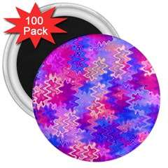 Pink and Purple Marble Waves 3  Magnets (100 pack)