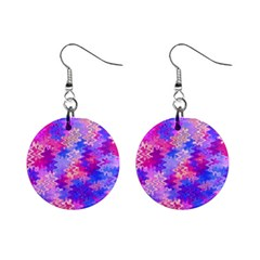 Pink And Purple Marble Waves Mini Button Earrings