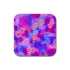 Pink and Purple Marble Waves Rubber Coaster (Square)
