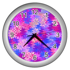 Pink And Purple Marble Waves Wall Clocks (silver)