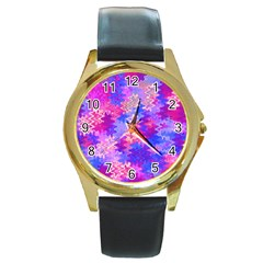 Pink And Purple Marble Waves Round Gold Metal Watches