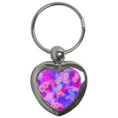 Pink and Purple Marble Waves Key Chains (Heart)
