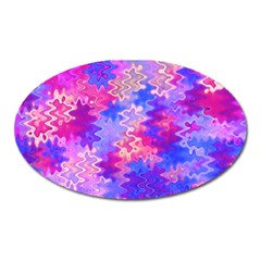 Pink And Purple Marble Waves Oval Magnet