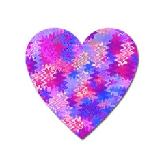 Pink And Purple Marble Waves Heart Magnet