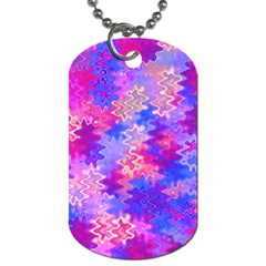 Pink And Purple Marble Waves Dog Tag (one Side)