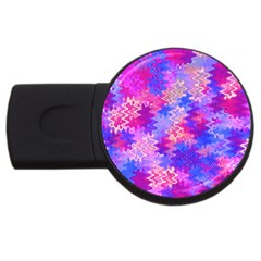 Pink and Purple Marble Waves USB Flash Drive Round (1 GB)