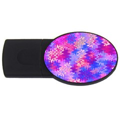 Pink and Purple Marble Waves USB Flash Drive Oval (1 GB)