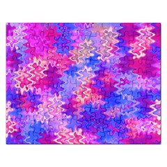 Pink And Purple Marble Waves Rectangular Jigsaw Puzzl
