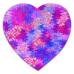Pink and Purple Marble Waves Jigsaw Puzzle (Heart)