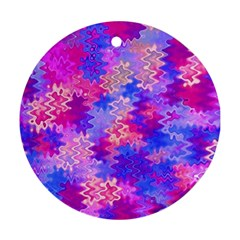 Pink And Purple Marble Waves Round Ornament (two Sides)