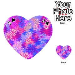 Pink and Purple Marble Waves Playing Cards 54 (Heart)