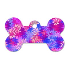 Pink and Purple Marble Waves Dog Tag Bone (One Side)