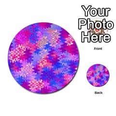 Pink And Purple Marble Waves Multi Purpose Cards (round)