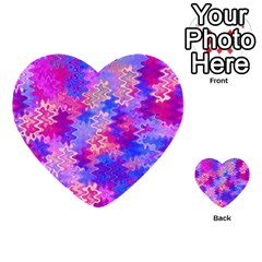 Pink and Purple Marble Waves Multi-purpose Cards (Heart)