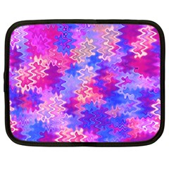 Pink and Purple Marble Waves Netbook Case (Large)