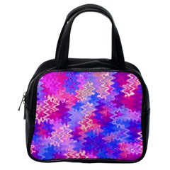 Pink And Purple Marble Waves Classic Handbags (one Side)