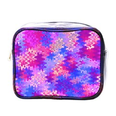 Pink and Purple Marble Waves Mini Toiletries Bags
