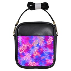 Pink and Purple Marble Waves Girls Sling Bags