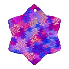 Pink and Purple Marble Waves Snowflake Ornament (2-Side)