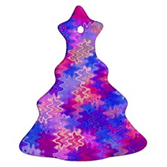 Pink and Purple Marble Waves Christmas Tree Ornament (2 Sides)