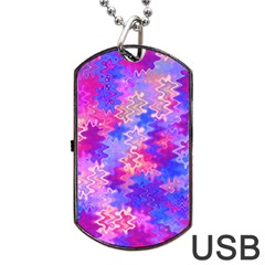 Pink and Purple Marble Waves Dog Tag USB Flash (Two Sides)