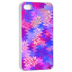 Pink and Purple Marble Waves Apple iPhone 4/4s Seamless Case (White)