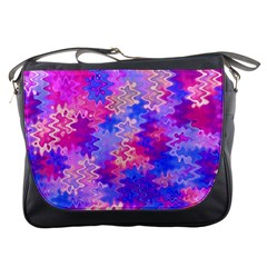 Pink and Purple Marble Waves Messenger Bags