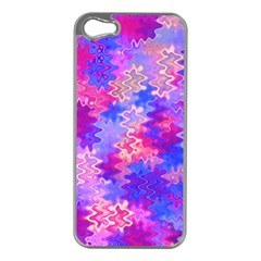 Pink and Purple Marble Waves Apple iPhone 5 Case (Silver)