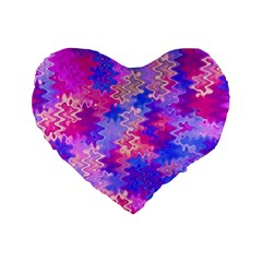 Pink and Purple Marble Waves Standard 16  Premium Heart Shape Cushions