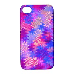 Pink And Purple Marble Waves Apple Iphone 4/4s Hardshell Case With Stand