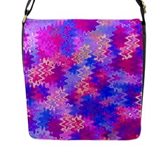 Pink and Purple Marble Waves Flap Messenger Bag (L)