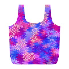 Pink And Purple Marble Waves Full Print Recycle Bags (l)