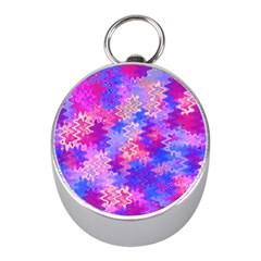 Pink and Purple Marble Waves Mini Silver Compasses
