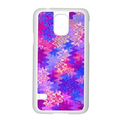 Pink and Purple Marble Waves Samsung Galaxy S5 Case (White)