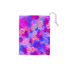 Pink and Purple Marble Waves Drawstring Pouches (Small)