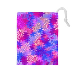 Pink And Purple Marble Waves Drawstring Pouches (large)