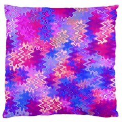 Pink and Purple Marble Waves Large Flano Cushion Cases (One Side)