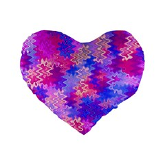 Pink And Purple Marble Waves Standard 16  Premium Flano Heart Shape Cushions