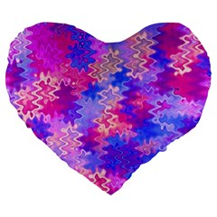 Pink and Purple Marble Waves Large 19  Premium Flano Heart Shape Cushions