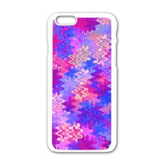 Pink and Purple Marble Waves Apple iPhone 6 White Enamel Case