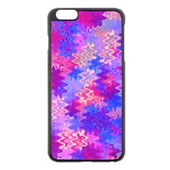 Pink and Purple Marble Waves Apple iPhone 6 Plus Black Enamel Case