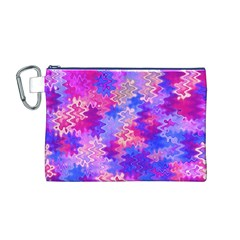 Pink And Purple Marble Waves Canvas Cosmetic Bag (m)
