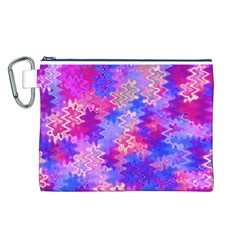 Pink and Purple Marble Waves Canvas Cosmetic Bag (L)