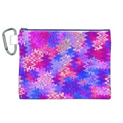 Pink and Purple Marble Waves Canvas Cosmetic Bag (XL)