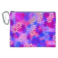 Pink and Purple Marble Waves Canvas Cosmetic Bag (XXL)